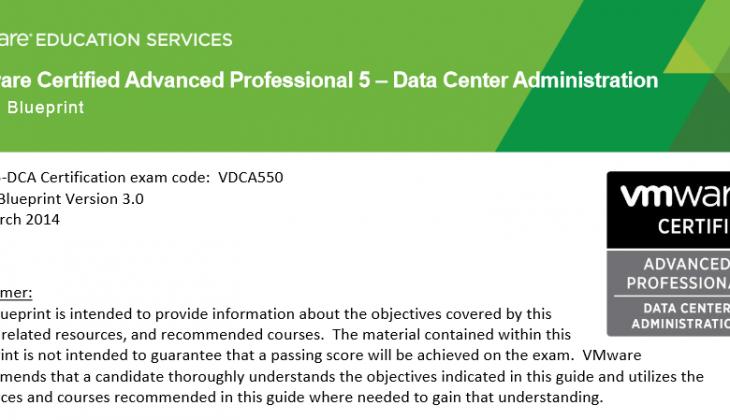 VCAP5-DCA Exam Blueprint