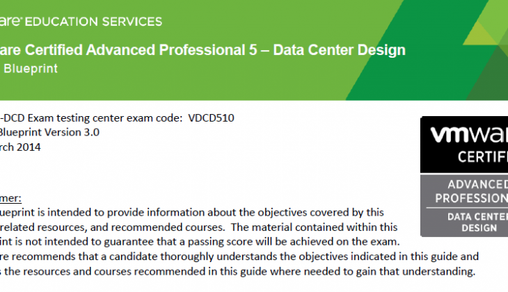 VCAP5-DCD Exam Blueprint