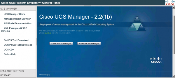 Cisco UCS Platform Emulator Control Panel