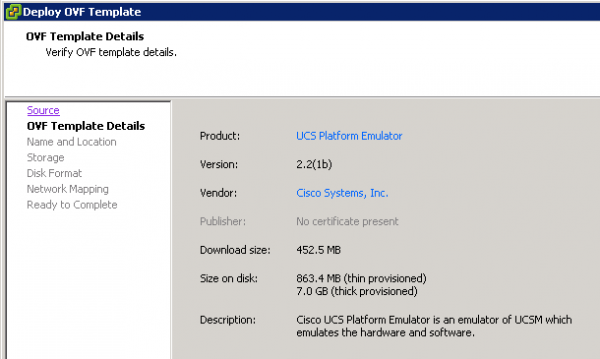 Cisco UCS Platform Emulator OVA deployment