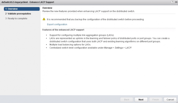Converting to Enhanced LACP Support using the wizard