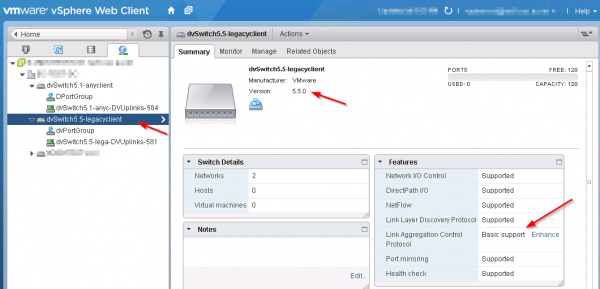 Enhance LACP Support with Distributed Switch 5.5.0