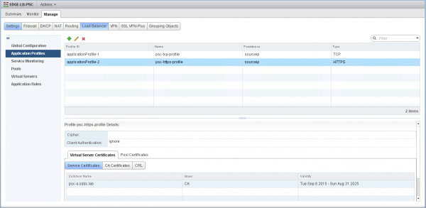 Application Profiles in NSX Edge to Load Balance vSphere 6 PSC in HA mode