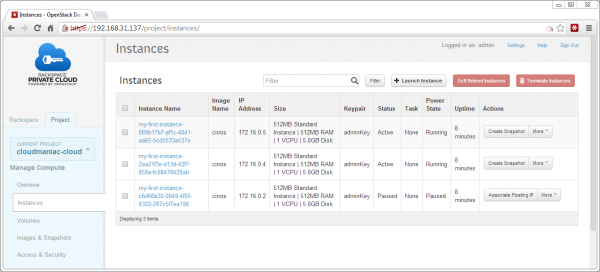 Instances dashboard in OpenStack