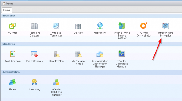 vCenter Infrastructure Navigator : vSphere Web Client Integration