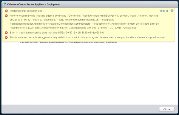 ERROR_TOO_MANY_NAMES message during vCenter Server 6 Deployment