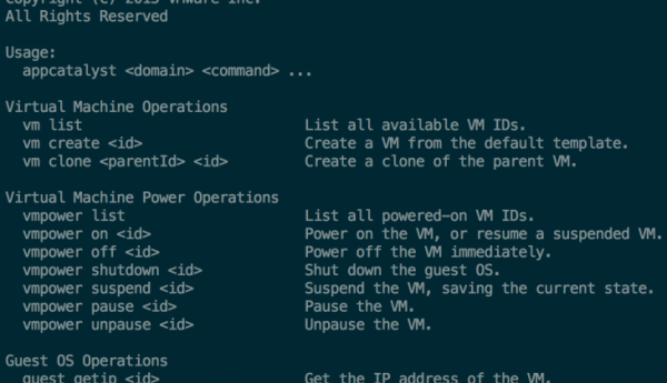 VMware AppCatalyst: commands list