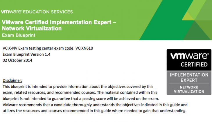 VMware Certified Implementation Expert – Network Virtualization (VCIX-NV)