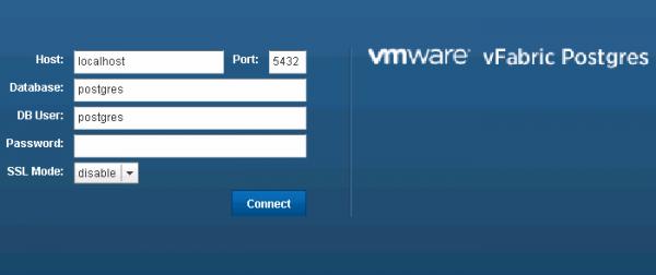 vPostgres appliance: login screen