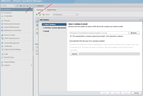 vRealize Operations Manager Import vRO Solution