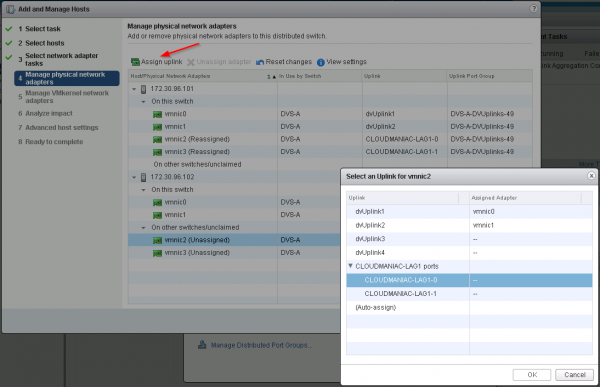 vSphere 5.5 enhanced LACP support: assign uplinks to a LAG