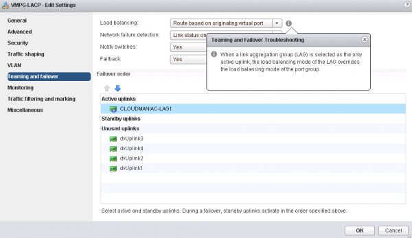 vSphere 5.5 enhanced LACP support: edit teaming policy on Distributed Portgroup