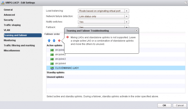 vSphere 5.5 enhanced LACP support: teaming and failover troubleshooting