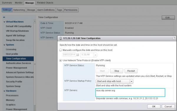 NTP Configuration in vSphere Web Client