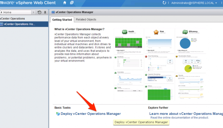 Deploy vCenter Operations Manager from vSphere Web Client
