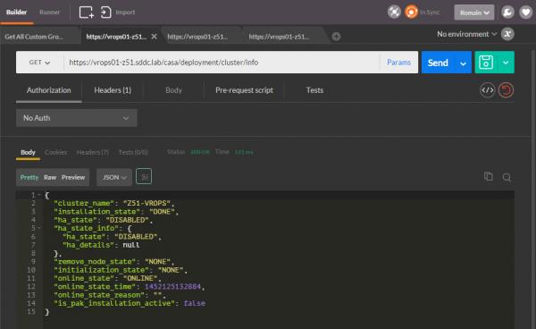vROps CaSA API: get cluster info