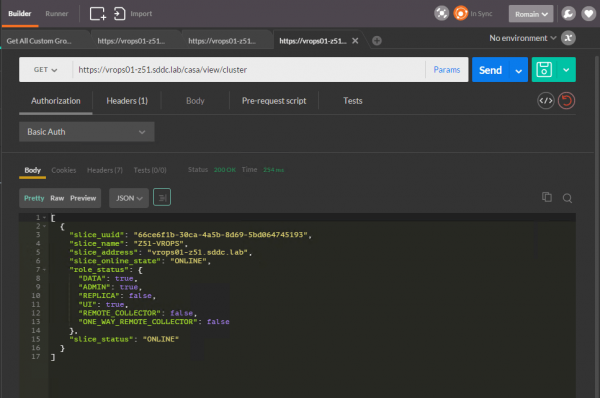 vROps CaSA API: view cluster state and roles per slice