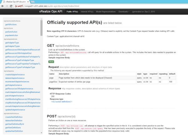 vRealize Operations Manager API Documentation