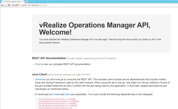 vRealize Operations Manager API root web page
