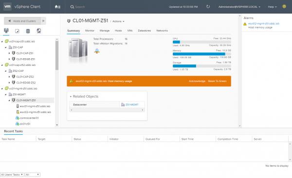vSphere HTML5 Web Client: Cluster View