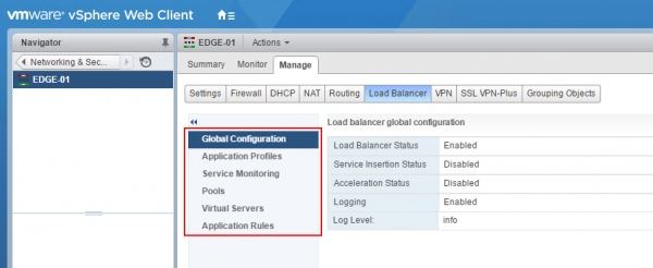 NSX-V Load Balancer: global configuration