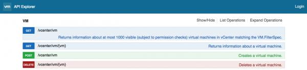 VM Operations Documentation using the API Explorer