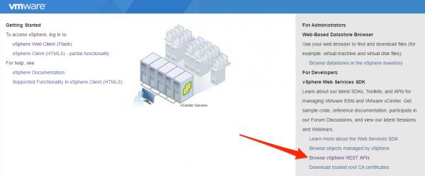 Browse vSphere REST APIs in vCenter 6.5 UI