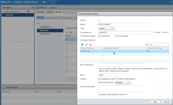 NSX Edge Services Gateway: interface configuration