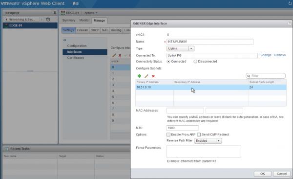 NSX Edge Services Gateway: interface configuration