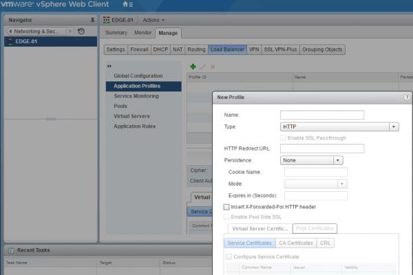 NSX Load Balancing: application profiles