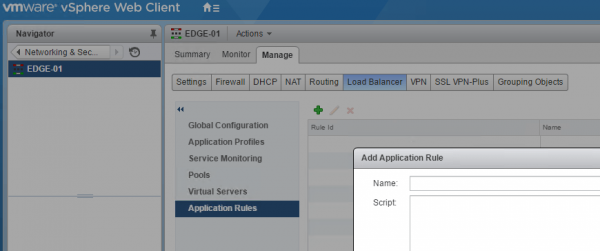 NSX Load Balancing: application rules