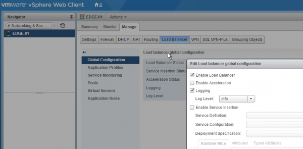 NSX Load Balancing: global configuration