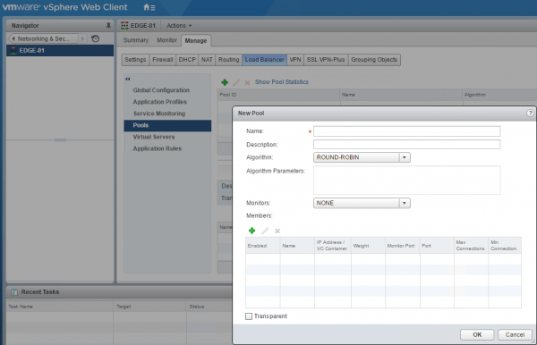 NSX Load Balancing: pool and backend servers definition