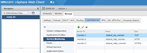 NSX Load Balancing: service monitor
