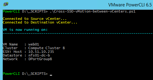 vMotion VM between different SSO domains: script output