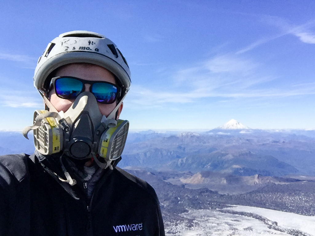 On top of the Villarrica with my VMware jacket (need a gas mask because of the sulfur fumes)