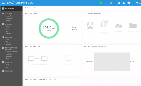 DELL EMC Unity VSA Dashboard