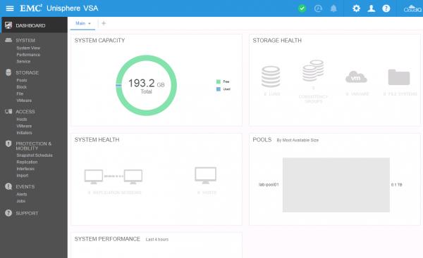 DELL EMC Unity VSA Dashboard
