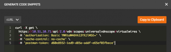Postman: cURL Code Snippet Example