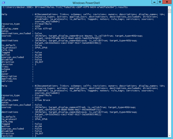 List all NSX-T distributed firewall rules from with PowerCLI