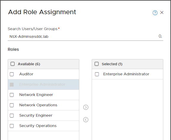 NSX-T Role-based Access Control Configuration