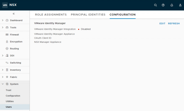 NSX-T: VMware Identity Manager Integration Page
