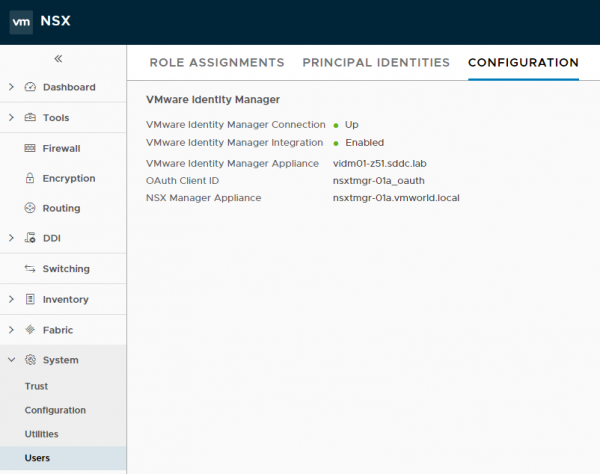 NSX-T: VMware Identity Manager (vIDM) Integration Configured