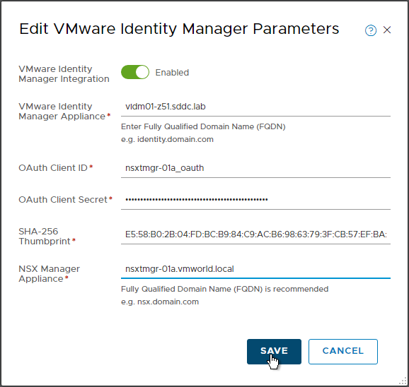 NSX-T: Configure VMware Identity Manager (vIDM) Integration Parameters