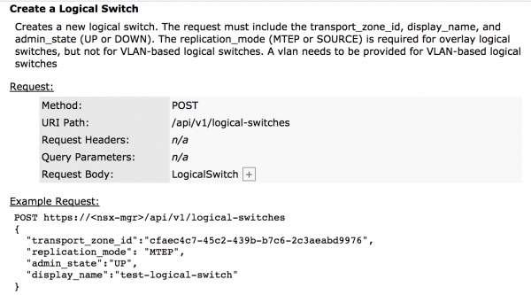 NSX-T API: Create Logical Switch Method