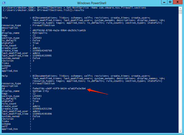 List NSX-T Firewall Sections with PowerCLI