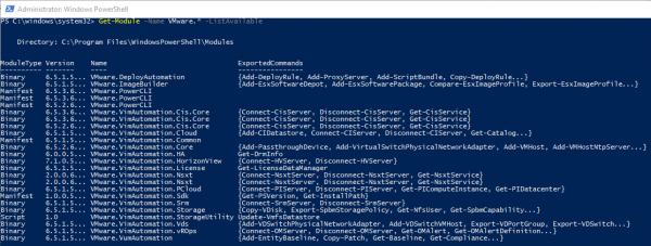Get PowerShell Installed Modules and Available Modules starting with VMware.* (PowerCLI for ex)