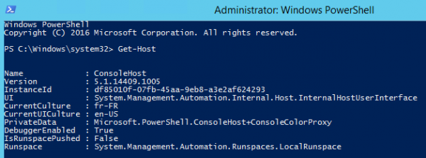 Get PowerShell version using Get-Host cmdlet
