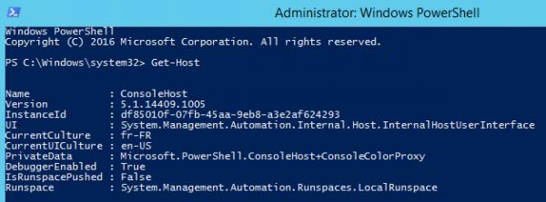 Get PowerShell version using Get-Host cmdlet