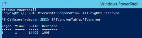 Get PowerShell version using $PSVersionTable.PSVersion